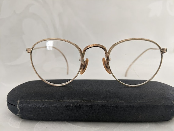 Antique Bausch & Lomb Rx Round Wire Eyeglass Frame.  12K Gold Filled Cable Temple Round Wire Frames. Vintage Rx Eye glasses Small/ Petite