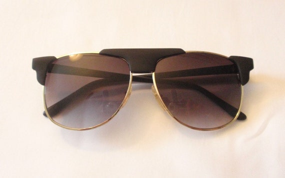 Vintage CM  Unibrow/Black-Gold Sunglasses.  Retro Flat top Large Shades.  Funky Large Flat Top Sunnies.  Oversize Sunnies.