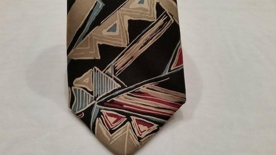 Vintage Pierre Cardin Neck Tie.  Abstract Design Vintage Men's Neck Tie. Black,Tan and Burgundy Design Neck Tie. Designer Neck Tie