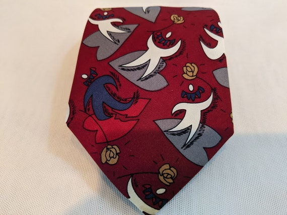 "Vintage The Beatles ""She Loves You"" Necktie. Beatles Burgundy Silk Neck Tie, She Loves You Theme. The Beatles Novelty Tie."
