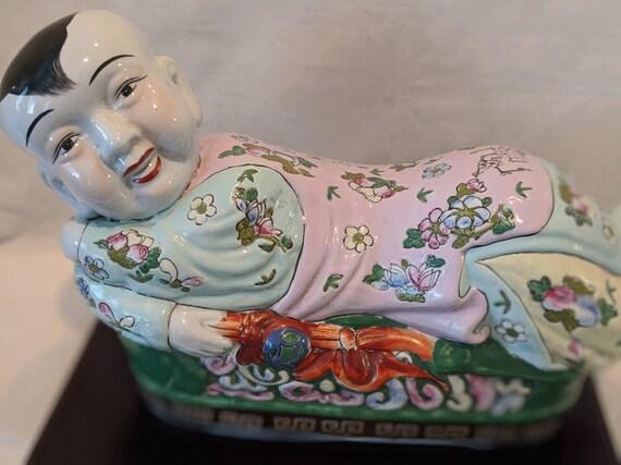 Vintage Porcelain Boy Buddha Pillow Headrest. Large Ceramic Chinese Boy Reclining. Buddha Laying Bed. Large Chinese Boy Reclining Statue