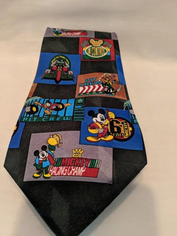 Vintage Mickey Unlimited Necktie. Mickey Racing Champ Novelty Tie. Mickey,Donald and Goofy Necktie.