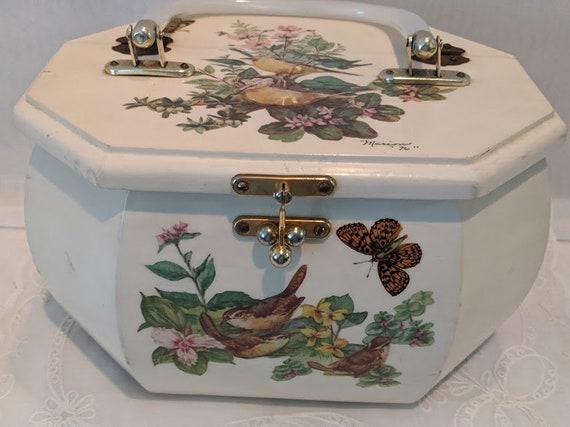 Vintage Wood Box Purse. Wood  Decoupage Hand Made Wood Handbag. Cream Color Decoupage Birds, Butterflies & Flowers. 3D Birds. Lucite Handle