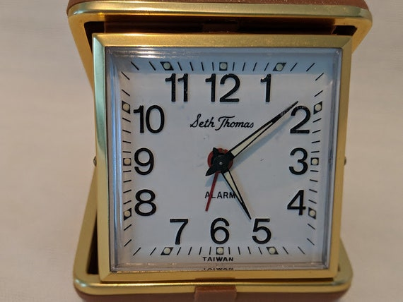 Vintage Seth Thomas Travel Wind-Up Clock.  Travel Alarm Clock. Fold Up Travel Alarm Clock. Reliable Alarm Clock.