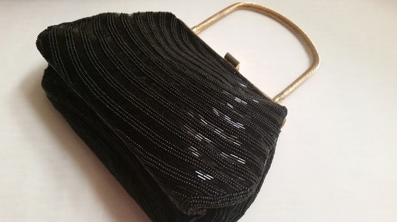 Vintage Black Beaded Evening Bag, Downton Abbey Style Evening Bag. Black Beaded Formal Bag