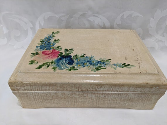 Vintage Distressed Wood Jewelry Box/ Hand Painted Jewelry Box/ Made in Italy