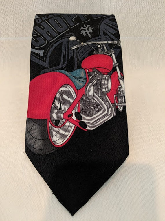 Vintage Orange County Chopper Neck Tie.  Black and Red Motorcycle Neck Tie. OCC Novelty Motorcycle Tie.