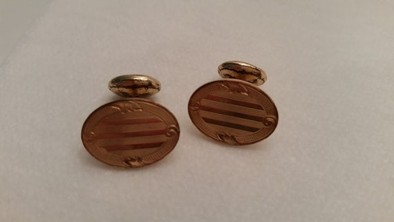 Krementz Antique Gold Plated Bean Back Cuff links. Victorian Cuff Links. Button Bean Back. 1940's Vintage Gold Plated Cuff Links