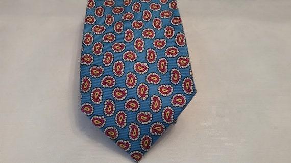 Ralph Lauren Polo Paisley Necktie. Teal Blue and Burgundy Paisley Necktie. Designer Polo Necktie. 100% Silk Hand Made Polo Necktie.