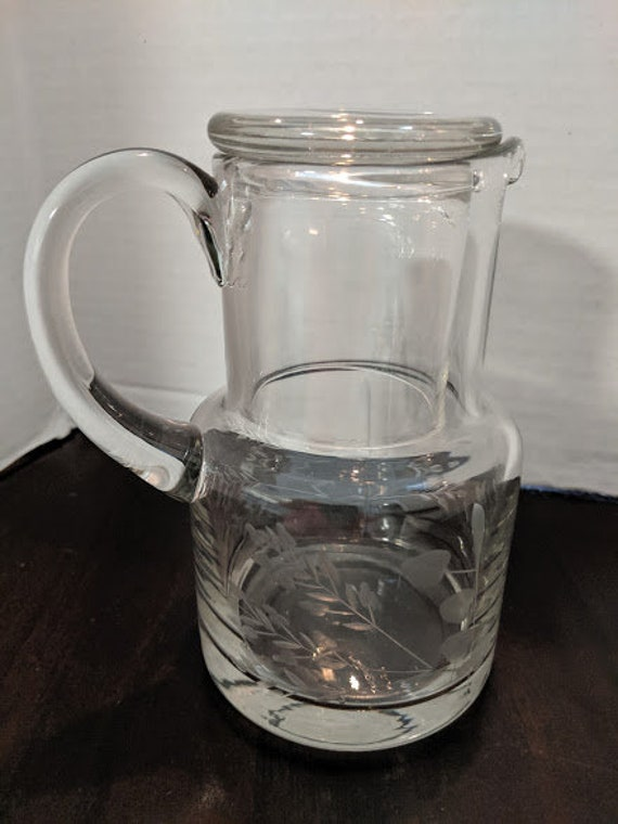 Vintage Table Side Water Carafe with Cup. Etched Clear Glass Water Carafe and Cup. Clear Etched Table Side Water Carafe With Handle and Cup