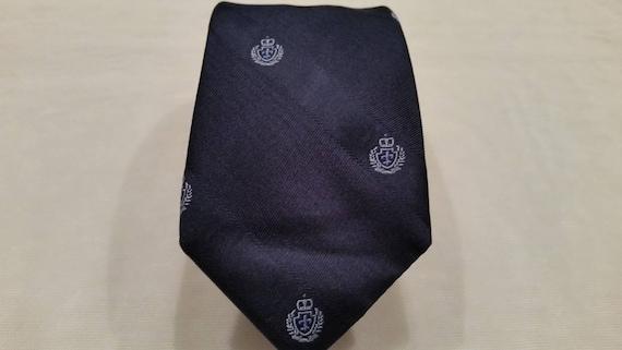 Vintage Dkny Men's Necktie.  Navy Blue Necktie with Crescent by Dkny. Designer Navy Men's Necktie.  Slim Style Neck Tie by Dkny