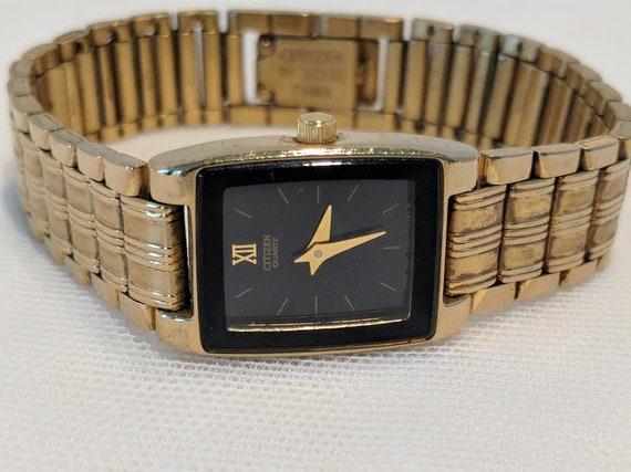 Vintage Ladies Citizen Wrist Watch. Gold Tone Citizen Quartz Citizen Watch. Retro/Vintage Rectangular  Gold Tone Women's Citizen Wrist Watch