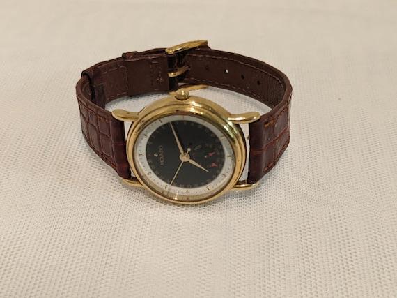Vintage Movado Ladies Watch. Movado Day Calender Watch.  Movado Water Resistant Watch. Movado Watch With Brown Leather Band. ESQ Quartz