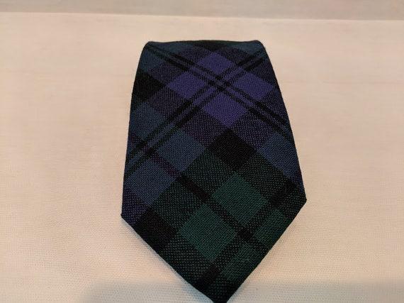 Vintage Tartan Plaid New Wool Neck Tie. Green-Navy-Black Plaid Neck Ties. Made In Scotland Wool Tartan Plaid Neck tie.