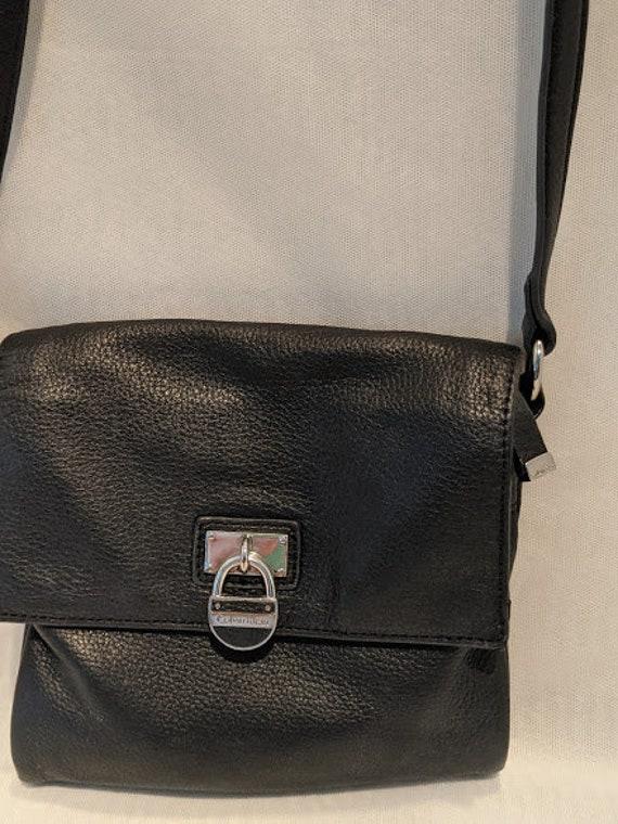 Vintage Calvin Klein Leather Crossbody Bag. Small Black Leather Crossbody bag. Pebbled Leather Small Shoulder Bag.