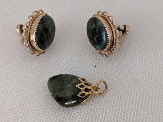 Vintage AMCO Screw Back Jade Earrings and Pendant. Gold Filled Green Jade Screwback Earrings. Jade Pendant. Retro Jade Earrings & Pendant