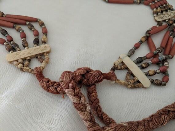 Vintage Beaded Hippie Tie Belt.  Bohemian Wood Beaded belt. Native American Style Tie Belt.. Boho Beaded Brown and Tan Belt.