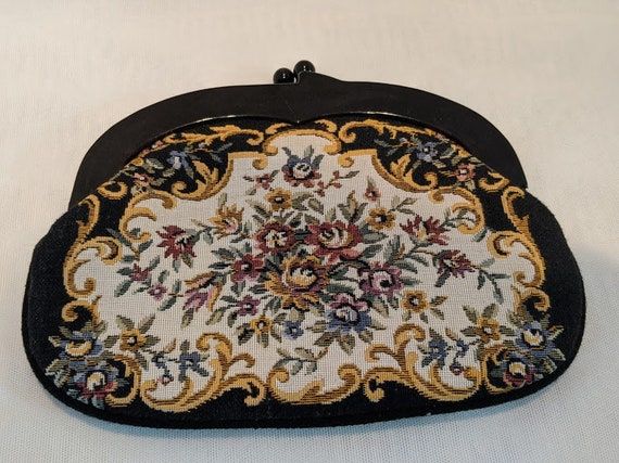 Vintage Hand Made Tapestry Clutch Bag. Floral Tapestry Vintage Purse. Lucite Handle Kiss Lock.