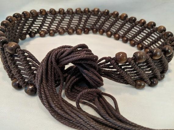 Vintage Weaved Boho Tassel Belt. Brown Macrame Moroccan Belt. Hippie Weaved and Beads Tassel Belt.