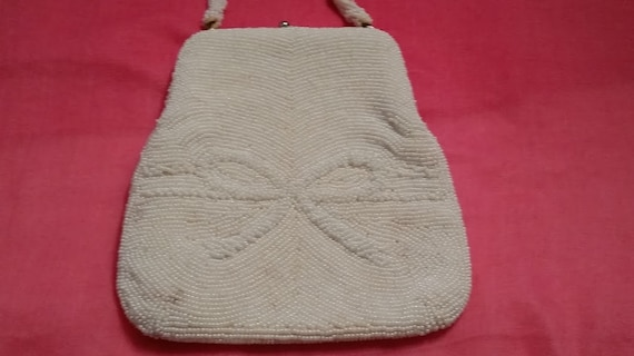 Vintage White Glass Beaded Purse by Richere made in Japan, Evening White Beaded Richere Bag, Wrist Beaded Formal Bag