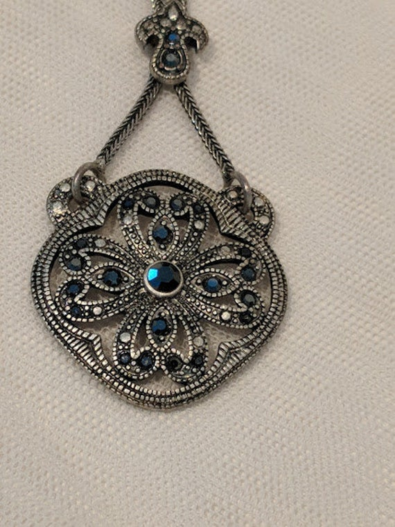 Vintage Marcasite Pendent Necklace. Boho Style Silver Tone Marcasite Pendent. Steam Punk Silver Tone Necklace.