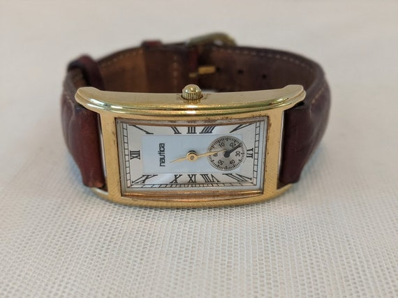 Vintage Nautica Gold Tone Rectangular Watch. Nautica Unisex Rectangular Watch/ Leather Strap.
