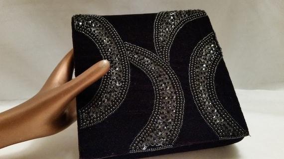 Vintage Accessory Lady Brand Black Velvet Formal Clutch. Black Velvet and sequins Formal Bag. Black Velvet Beaded and Sequins Formal Bag.
