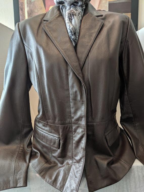 Vintage Leather Blazer Jacket by MiXit. Chocolate Brown Leather Blazer Jacket. Genuine Leather Brown Women's Blazer Jacket.
