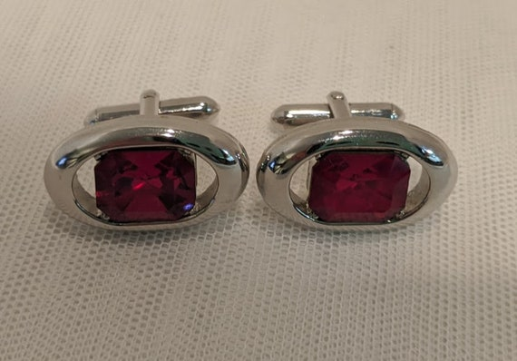 Vintage Silver Tone Cufflinks with Emerald Cut Ruby Red Crystal Stones.