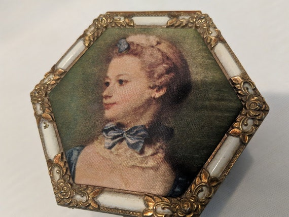 Vintage Brass Victorian Style Trinket Box.  Brass Hexagon Keepsake Box. Ornate Brass Trinket Box. Victorian Silk Portrait on  Brass Box
