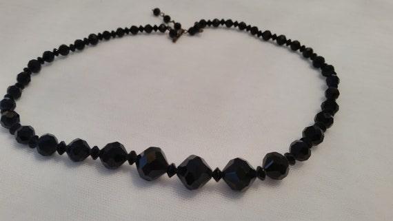 Vintage Black Jet Crystal Stone One Strand Necklace. Black Jet Beaded Art Deco Necklace. Black Jet & Crystal Beaded Formal Necklace. SALE