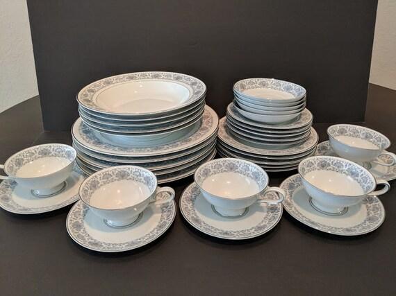 Vintage Towne Fine China Porzellan Bavaria Germany Dinner Set.Empress Gray/Silver Trim Towne Fine China.35 Pieces Bavaria China NOW ON SALE