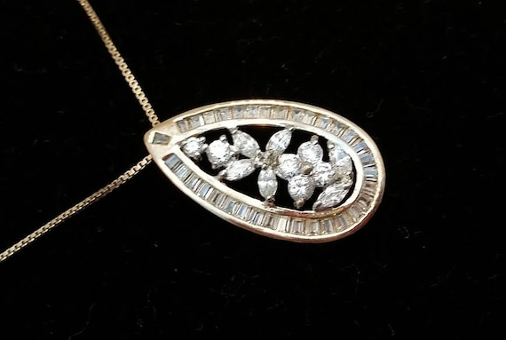Vintage CZ Diamond Statement Necklace. Gold Plated Pure Silver 925 Italy CZ Pendant and Chain. Oval shaped CZ Floral Statement Necklace.