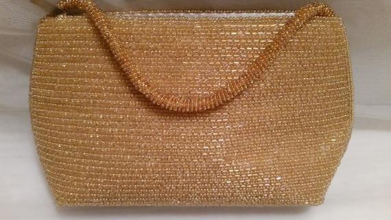 Vintage Bijoux Terner Gold Beaded Formal Purse, Gold Beaded Evening Bag, Retro Beaded Formal Wristlet. Cute Gold Evening Purse, Cute Bag!