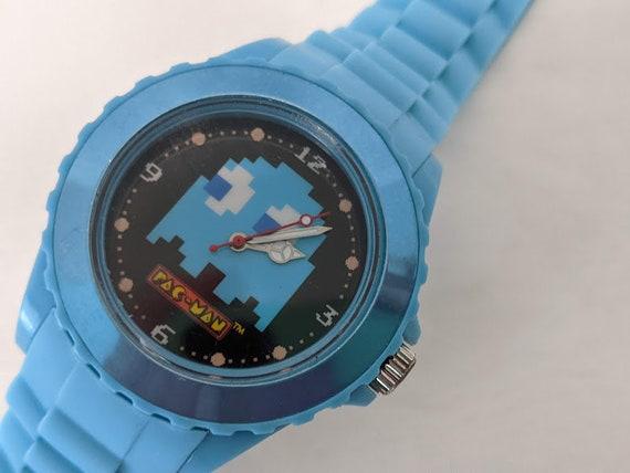 Novelty Pac man Watch Blue.  Blue Rubber Band Pac Man Watch.  Large Face Pac Man Watch. Cute Pac Man Watch