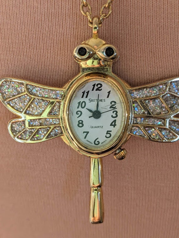 Vintage Dragonfly Pendant Watch. Gloria Vanderbilt Pendant Necklace Watch . Gold Tone and Iridescent Stones Dragonfly Quartz Pendant Watch