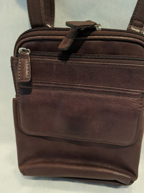 Vintage Brown Leather Fossil Small Messenger Bag.  Fossil Leather Crossbody Wallet/Bag.  Fossil Leather Travel Wallet Crossbody.