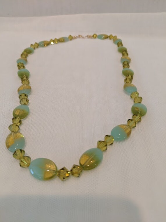 Hand Crafted Citrine Crystal and Glass Bead Necklace. Citrine and Aqua Beads and Citrine Crystal Beaded Necklace. Soft and Sparkly Necklace.