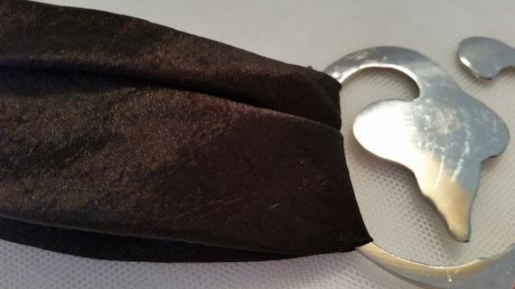 Brown Satin with Silver Tone Buckle Sash Belt, Pretty and Unique Sash Belt, Hippie/Boho Brown Satin and Silver Buckle Sash Belt