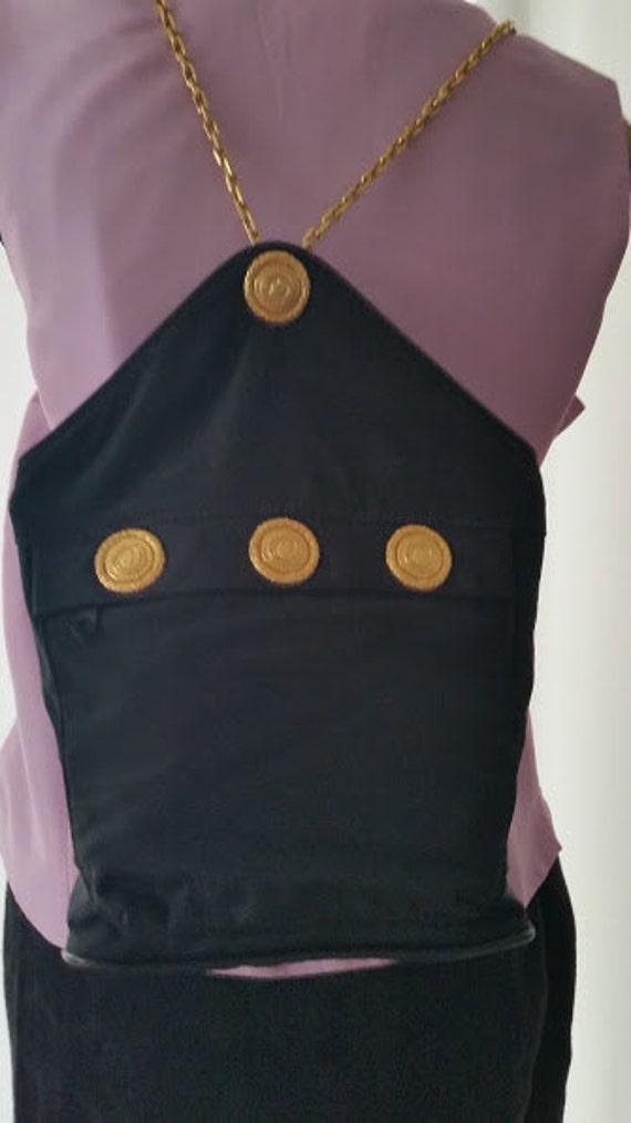 Rocco Barocco Nylon Back Pack Bag. Designer Back Pack Bag with Rocco Barocco Gold Medallions. Elegant and Unique Bag