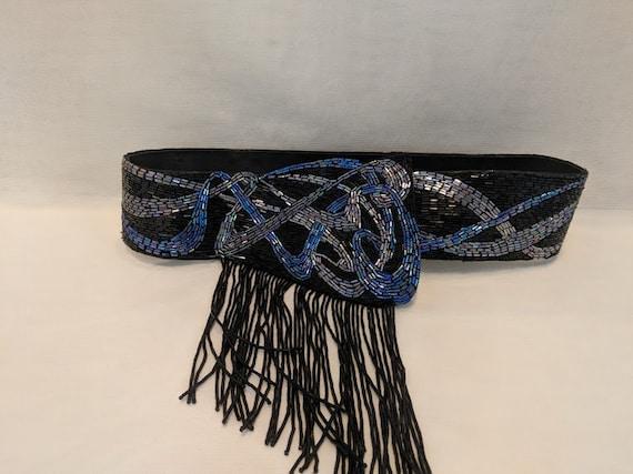 Black and Blue Beaded Cummerbund. Black Beaded with Blue Iridescent Beads Cummerbund. Vintage Evening Wear Black Cummerbund. Evening Belt