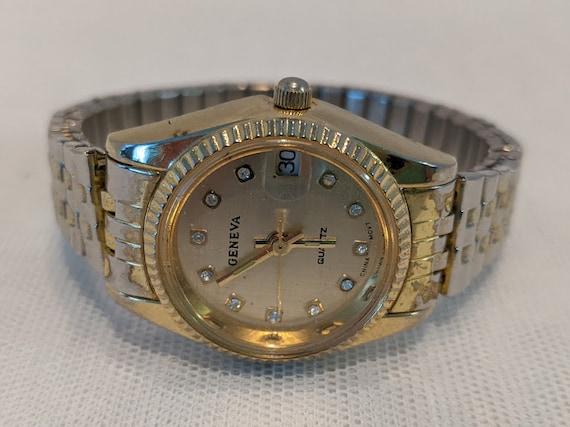 Vintage Women's Geneva Gold Tone Watch. Geneva Stretch Band Lady's Watch. Geneva Quartz Women's Watch With Crystal Numbers.