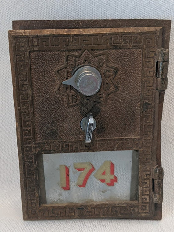 Vintage Brass and Glass Apartment Mailbox Door.  Two Combination Lock Brass Mailbox Post Office Door. Nostolgic Collectible Brass Mailbox