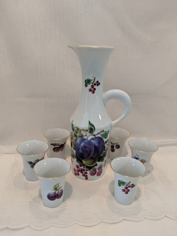 Vintage Naaman Porcelain Decanter With Six Trumpet Cups. Made in Israel. Naaman Israel Fin Porcelain Decanter Set. Fruit Motif Decanter