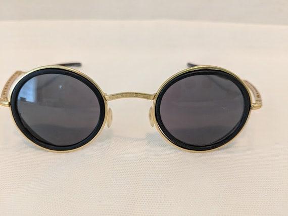 Vintage 1980s Steam Punk Black/Gold Sunglasses. Round Gold-tone Steam Punk Sunnies. Sunglasses with side shield and Folding Arms. SALE SALE
