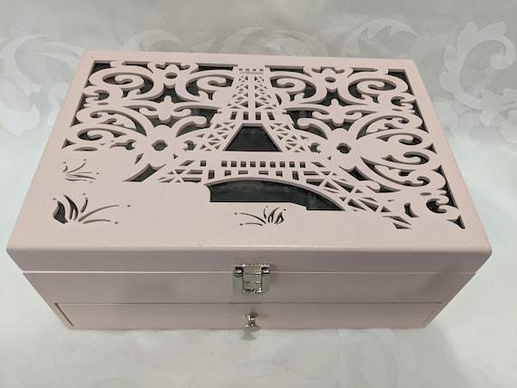 Eiffel Tower Wood Jewelry Box. Eiffel Tower Carved Design Jewelry Box. Large Carved Wood Jewelry Box.