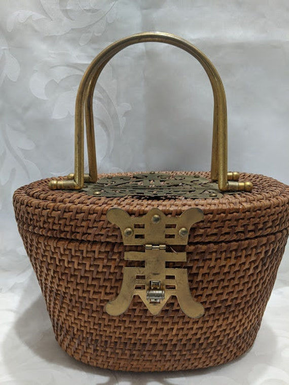 Antique Chinese Wicker Basket Purse.  Vintage Wick