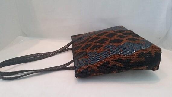 Vintage Animal Print Beaded Evening Bag. Leapard Desing Beaded Purse. Black and Tan Leapard Beaded Handbag. Black & Tan Formal Beaded Bag