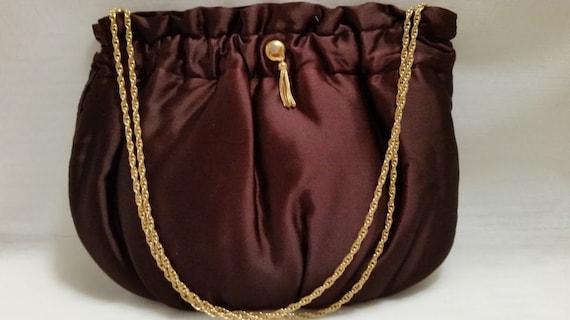 Vintage Mm Peau DeFaille Brown Satin Formal Purse. French Formal Satin Bag, Evening Brown Satin Bag, Art Deco French Brown Satin Formal Bag