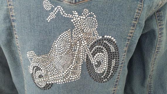Rhinestone Motorcycle Applique on New Denim Jacket, Blinged Out Denim Jacket with Beautiful Rhinestone Bike. Biker.Blinged JacketNOW ON SALE
